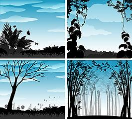 自然风景剪影场景插图矢量素材
