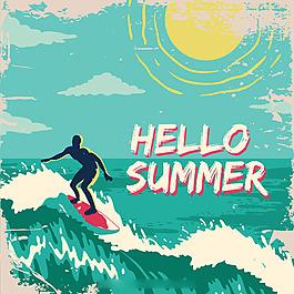 复古风格冲浪海滩蓝色背景