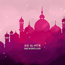 红色水彩风格清真寺剪影背景