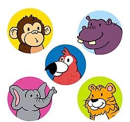 5款彩色动物头像矢量素材