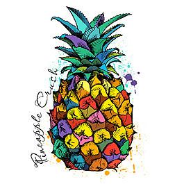 水彩菠蘿插畫圖片