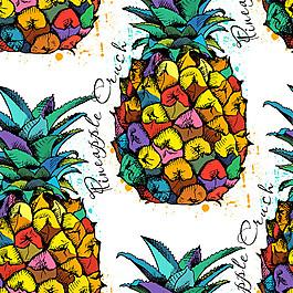 水彩菠蘿無縫背景圖片