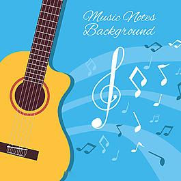 扁平风格吉他音符插图蓝色背景