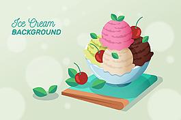 手繪冰淇淋插圖背景矢量素材