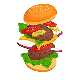 扁平風格美味食材漢堡插圖矢量素材