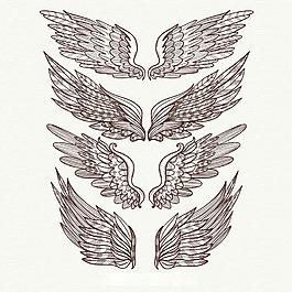 優雅的手繪翅膀雙翼矢量素材