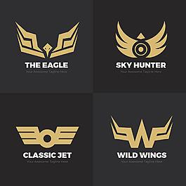 现代金色翅膀双翼标志logo