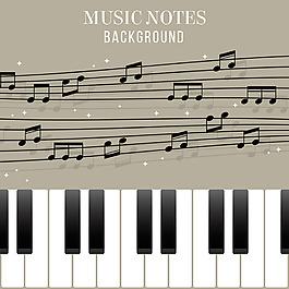 五線譜音符鋼琴插圖背景