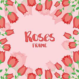 紅色玫瑰花邊框平面設計素材