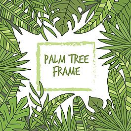 手绘风格绿色棕榈叶边框