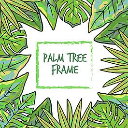 手绘绿色棕榈叶边框背景