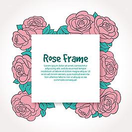 漂亮的手绘风格玫瑰化装饰花边