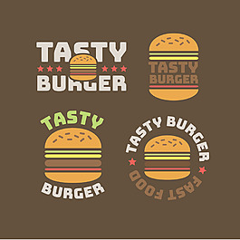 各種扁平風格漢堡包標簽圖標