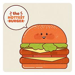 复古风格快乐汉堡表情图背景