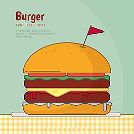 手繪美味雙層漢堡插畫綠色背景