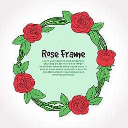 手繪風格圓形玫瑰花裝飾邊框框架