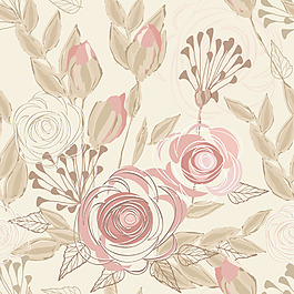 手绘古典花卉元素无缝底纹背景