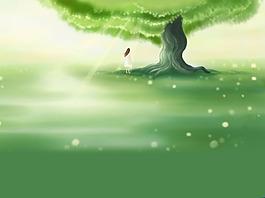 夢幻綠色廣告背景