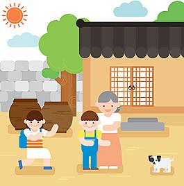卡通小院子人物太阳素材设计
