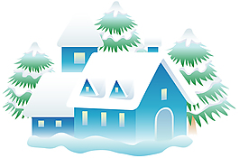 卡通雪景房子素材