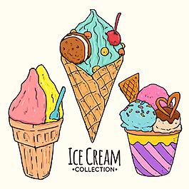 手繪風格夏季冰淇淋插圖矢量素材