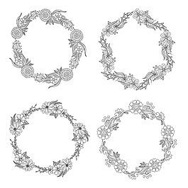 黑白花卉圆形边框矢量素材