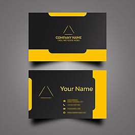 黑色黃色簡約商務名片設計模板