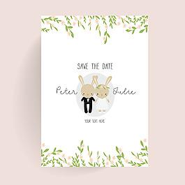 可爱的卡通风格动物花纹边框婚礼海报