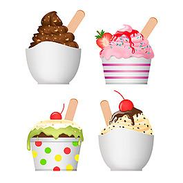 美味的夏天甜點冰淇淋插圖