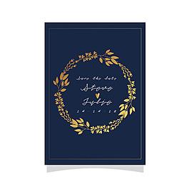 金色花卉装饰花环婚礼卡
