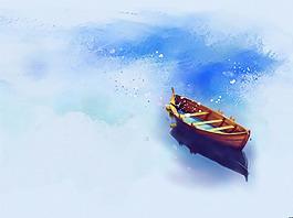 卡通童話小船背景