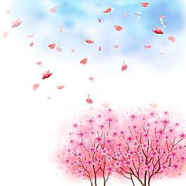 藍天白云蜻蜓花瓣梅花廣告背景素材