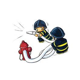 卡通消防人員元素