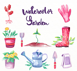 水彩绘花园元素