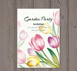 水彩繪郁金香花園派對矢量