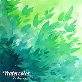 水彩绘叶子背景