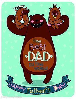 卡通小熊父親節背景 圖片