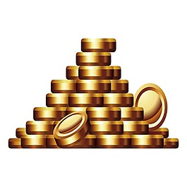 3D立體金幣元素