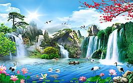 长寿松树瀑布电视墙背景素材