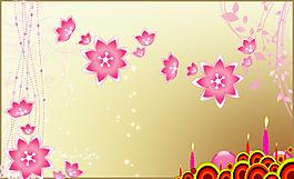唯美花朵甜美小清新生日背景邊框元素