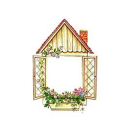 矢量房子花朵元素