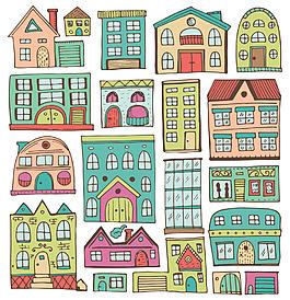 手绘房子建筑背景