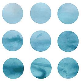 蓝色水墨圆点