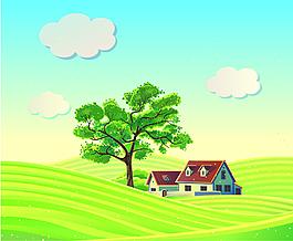 农场里的大树和房子矢量