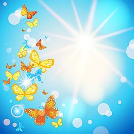 卡通蝴蝶天空背景圖片