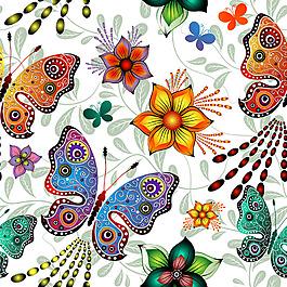 卡通蝴蝶鮮花背景圖片