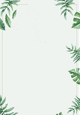 手绘绿叶边框背景