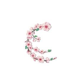 清新粉色花朵元素