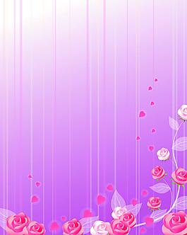手绘玫瑰边框背景