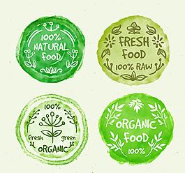 水彩绘有机食物徽章矢量